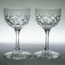 Pair Victorian Engraved Wine or Sherry Glasses Facet Cut Stems c1860