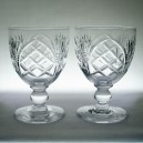 Pair Rummer Glasses Ball Knopped Stems Possibly Webb Corbett c1920