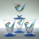 Set of Four Czech Art Deco Hand Painted Cockerel Cocktail Glasses 1920s