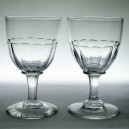 Pair Early Victorian Antique Facet Cut Stem Wine Glasses c1850