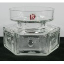 Dartington FT88 Hexagonal Glass Candle Holder Labelled