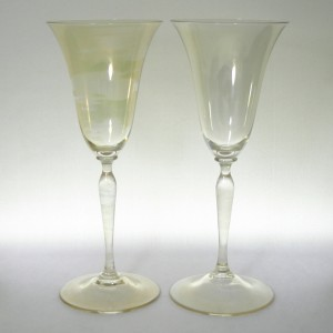 Pair Leerdam Andries Dirk Copier Gold Iridescent Romanda Wine Glass 1920s