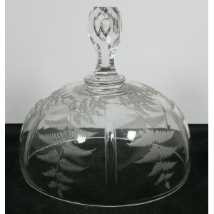 Victorian Antique Engraved Glass Lid For Butter Dish