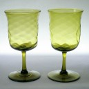 Pair Walsh Arts & Crafts Mustard Green Wine Glasses c1910