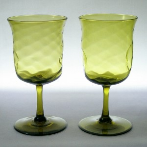 Pair Walsh Arts & Crafts Mustard Green Wine Glasses c1900