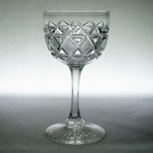 Victorian Antique Strawberry Diamond Cut Wine or Sherry Glass c1860