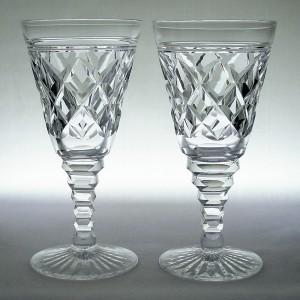 Pair Art Deco Cut Wine Glasses Probably Stuart Crystal c1930