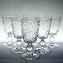 Set of Six Mid 20th Century Diamond Moulded Sherry Glasses c1950