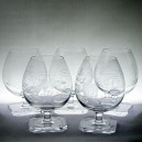 Five Scandinavian Engraved Fish & Animals Brandy Glasses 1960s