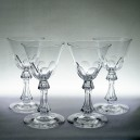 Set of four Victorian Antique Hollow Baluster Stem Wine Glasses c1860