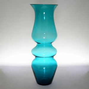 Ryd Glasbruk Swedish Teal Blue Hooped Glass Vase c1970