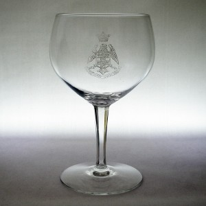 Vintage Savoy Hotel Crystal Wine Glass Acid Etched Crest Facet Cut Stem