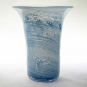 Nazeing Clouded Mottled Pastel Blue Flared Rim Glass Vase