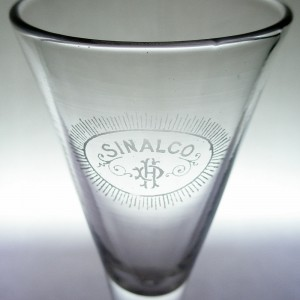 Edwardian Drawn Wine Glass Acid Etched German Sinalco Logo c1905