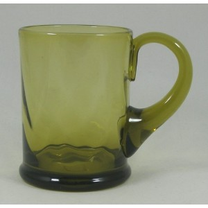 Arts & Crafts Mustard Green Tankard Glass c1920