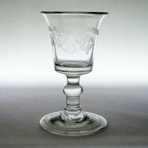 Georgian Antique Engraved Small Wine/ Dram Glass Folded Foot c1790