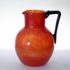 Czech Art Deco Orange & Black Tango Glass Jug 1930s