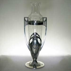 WMF Art Nouveau / Jugendstil Silver Plated Pewter & Cut Glass Vase c1915