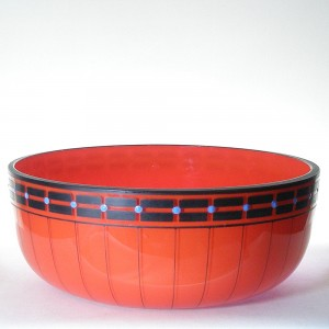 Czech Art Deco Orange Tango Glass Fruit Bowl 1920s - Signed