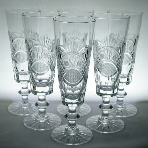 Set of Six Vintage Bohemian/ Czech Crystal Champagne Flute Glasses