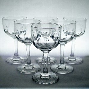 Set of Six Quirky Victorian Small Wine or Sherry Glasses c1880