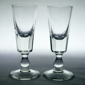 Pair Edwardian Flute Cut Funnel Bowl Dram/ Port Glasses c1910