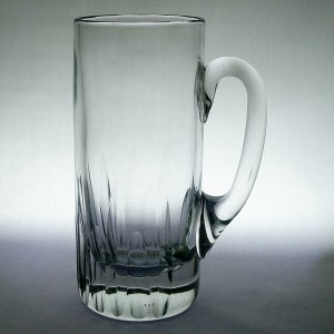 Tall Victorian 1 Pint Glass Tankard With Strong Vertical Cuts c1900