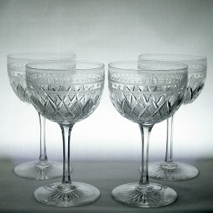 Set of Four Large Victorian Star Band Engraved & Diamond Cut Wine Glasses c1880