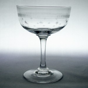 Victorian/ Edwardian Star Engraved Champagne Saucer Glass c1900