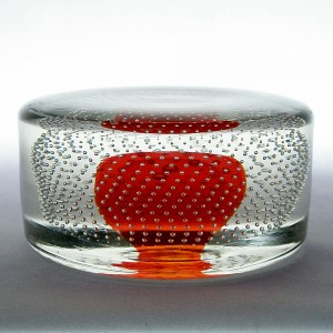 Whitefriars 9696 Controlled Encased Bubbles Tangerine Paperweight
