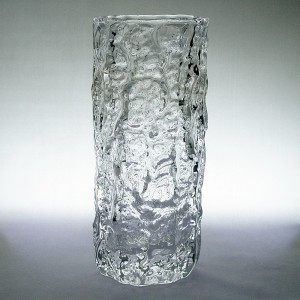 Whitefriars 9690 Medium Bark Textured Flint Glass Vase 1960s