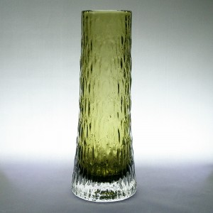 Whitefriars 9834 Tapered Sage Green Textured Glass Vase 1970s
