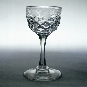 Victorian Antique Engraved Grapes & Vine Dram Glass c1860