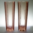 Pair Nemsova Sklo Union Pink Glass Corrugated Vases - Milos Filip no.2002