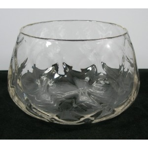 Stevens & Williams Diamond Moulded Crystal Glass Bowl