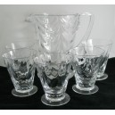 Thomas Webb Arts & Crafts Deco Jug & 5 Tumbler Glasses
