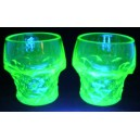 Pair Art Deco Uranium/Vaseline Glass Tumblers c1930
