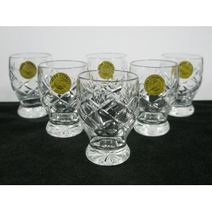 Set of Six Webb Corbett Crystal Shot Glasses Labelled