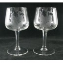 Pair Wine Glasses Engraved Ships Facet Cut Stems c1950