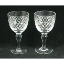 Pair Royal Brierley Crystal Sherry Glasses Baluster Stems