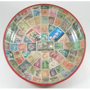 1960s Glass Bowl With Postage Stamps in Union Jack Design