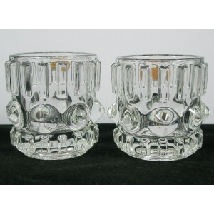 Pair Hermanova Sklo Union Glass Tealights Labelled