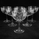 Set Six Victorian Welsh Feathers Saucer Champagne Glasses