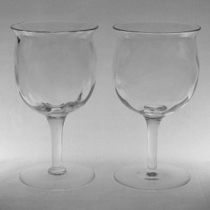 Pair Thomas Webb Arts & Crafts Optic Wine Glasses c1910