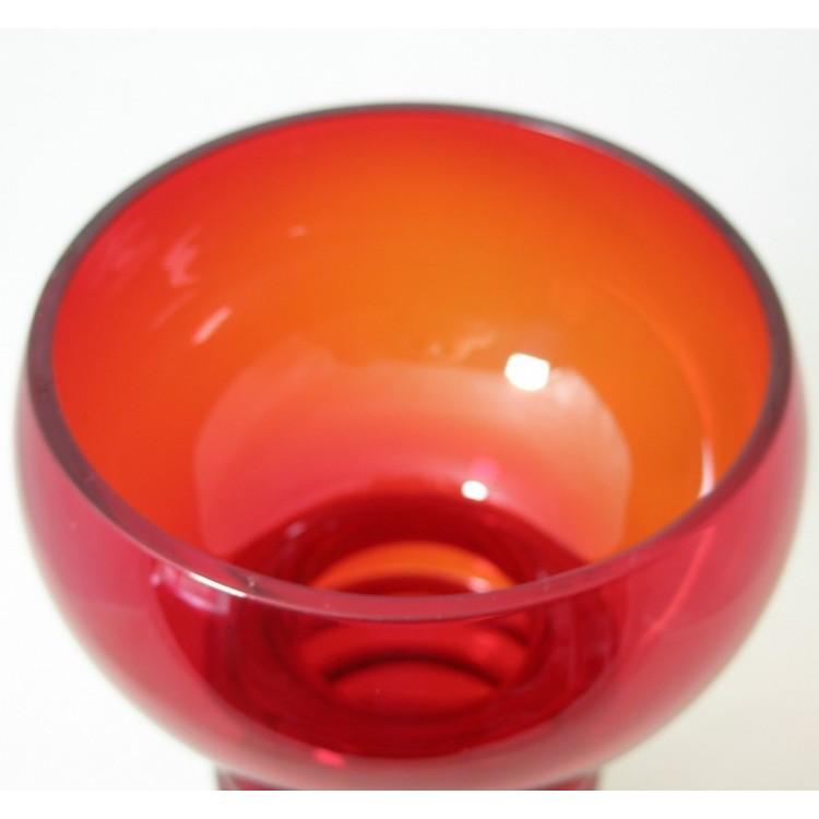 Riihimaki Mould Blown Retro Red Glass Vase 1960s Antique Glass Dealer