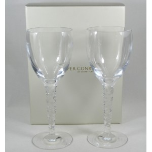 Pair Stuart Crystal Zita Large Wine Glasses Signed
