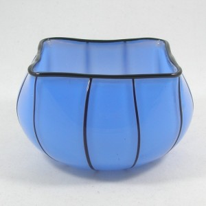 Loetz Michael Powolny Blue & Black Tango Glass Bowl c1910