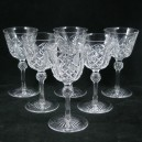 Set 6 Victorian Antique Facet Cut Wine Glasses c1860